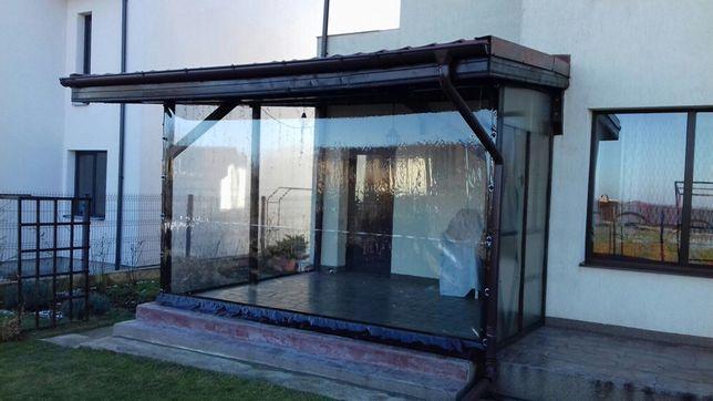 Folie transparentă pentru terase cu capse și bride