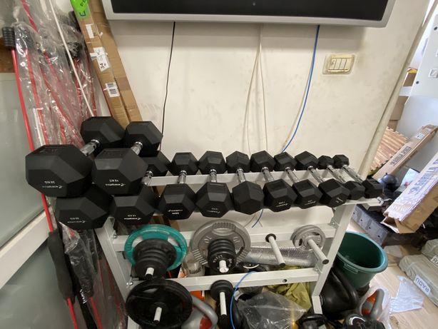 Gantere hexagonale noi 2x20 kg+2x15 kg+2x10 kg+2x7,5 kg+2x5 kg+2x2 kg