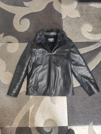 Дуба с норковым воротником|дублёнка мужская кожа ХТС|зимняя куртка.