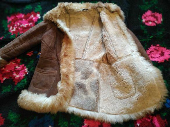 Дамско палто яке от естествена агнешка кожа