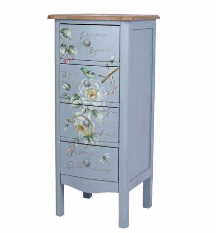 Comoda din lemn masiv bleu cu flori si pasari FRF008