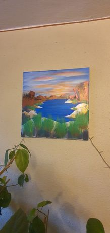 Vand tablou 40x40 cm cu efecte metalizate si fluorescente