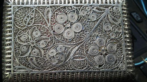 Сребърна табакера ръчно изработена 172гр.