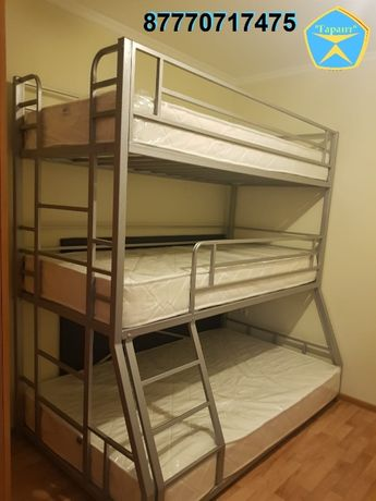 Трехъярусная металлическая кровать (двухярусная, двухъярусная)