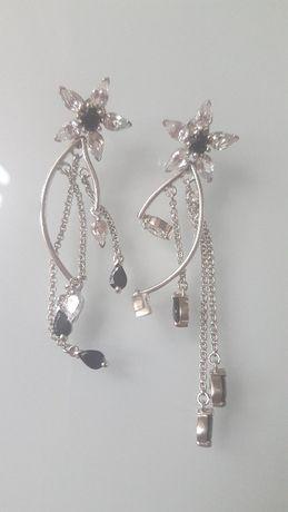 Сребърни обеци с камъчета