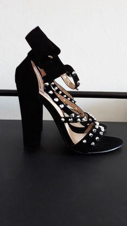 Sandale Negre cu Tinte 36