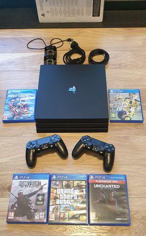 PS4/Playstation 4 PRO, 1TB + 2 controllere + 5 jocuri + incarcator