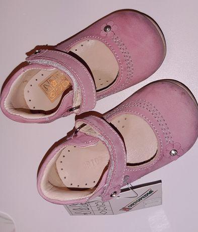 Pantofiori ORTOPEDICI fetițe, NOI, piele întoarsă ORTOPEDIA -masura 19