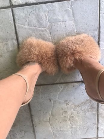 Sandale toc mineli cu puf natural