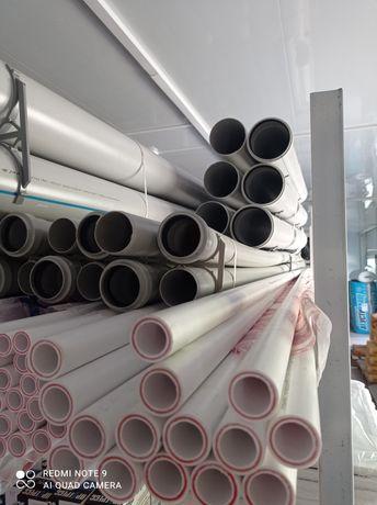 Трубы пластиковые и фитинги размерами от D-20 и до  D-110мм