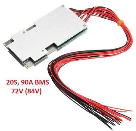 20S BMS 84V 90A, защитна платка с балансно зареждане, PCB BMS board