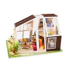 Casa de papusi cu design modern ,Diorama din lemn 3D- luminata