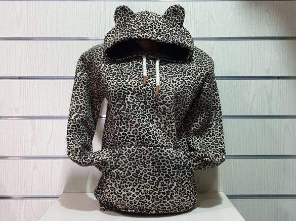 Нов дамски леопардов суичър с ушички