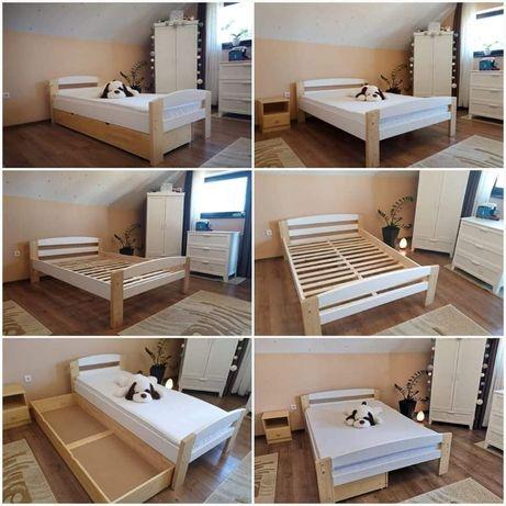 Pat din lemn masiv brad, natur, alb, combinat, pentru dormitor