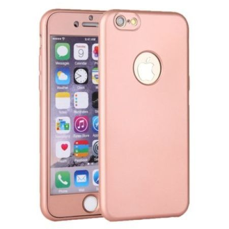 Capac Full silicone 360°(fata+spate) iPhone 6/6S rose gold