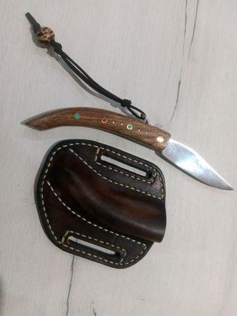 Джобно сгъваемо ножче нож габровска сойка с калъф от естествена кожа