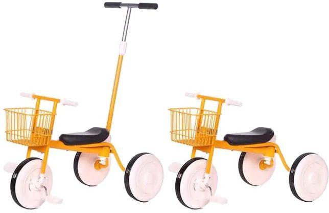 Tricicleta Sofia pentru copii cu pedale și cosulet,mâner împins