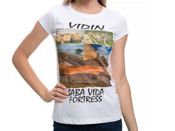 """Нова дамска тениска с дигитален печат крепостта """"баба вида"""", гр. видин"""