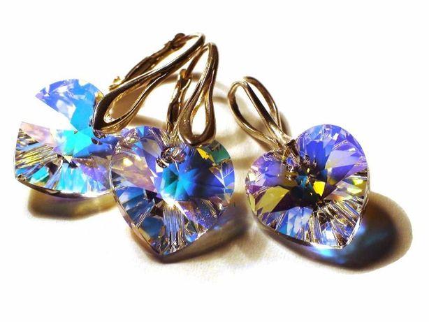 Set Cristale Swarovski inima, cercei mireasa, cercei albi - 099.2