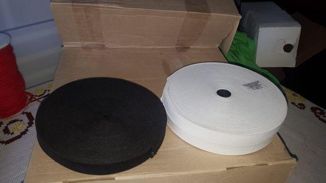 Vand Elastic banda 20 mm x 25 m alb+negru