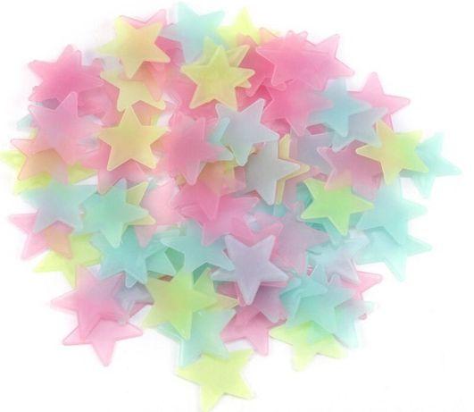 3D Звезди за стена и таван Фосфорни различни цветове 100 броя