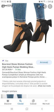 Pantofi toc 38, negri, funda rosie in spate