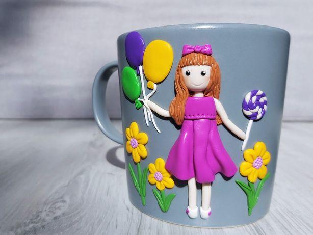 Cana handmade cadou fetita cu baloane din fimo