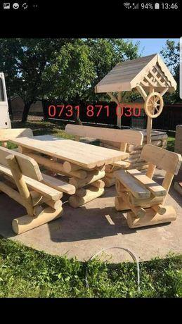 Set masa cu bancute cu scaunele la comanda la dimesiune dorită det tel
