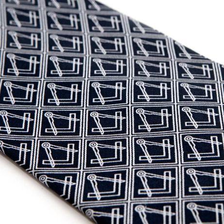 Cravata Mason de matase (albastra)-Echer si Compas, broderie argintie