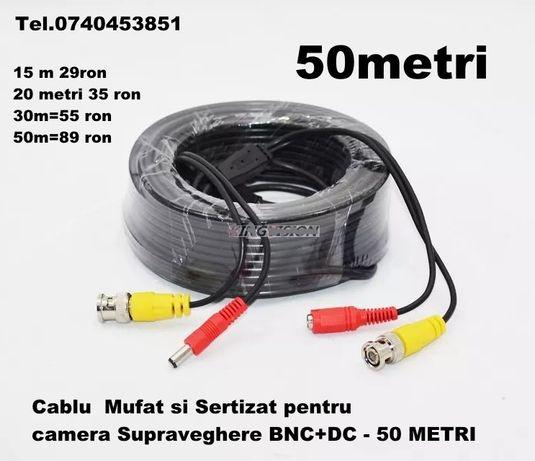 Cablu Mufat si Sertizat pentru camera Supraveghere BNC+DC - 50 METRI