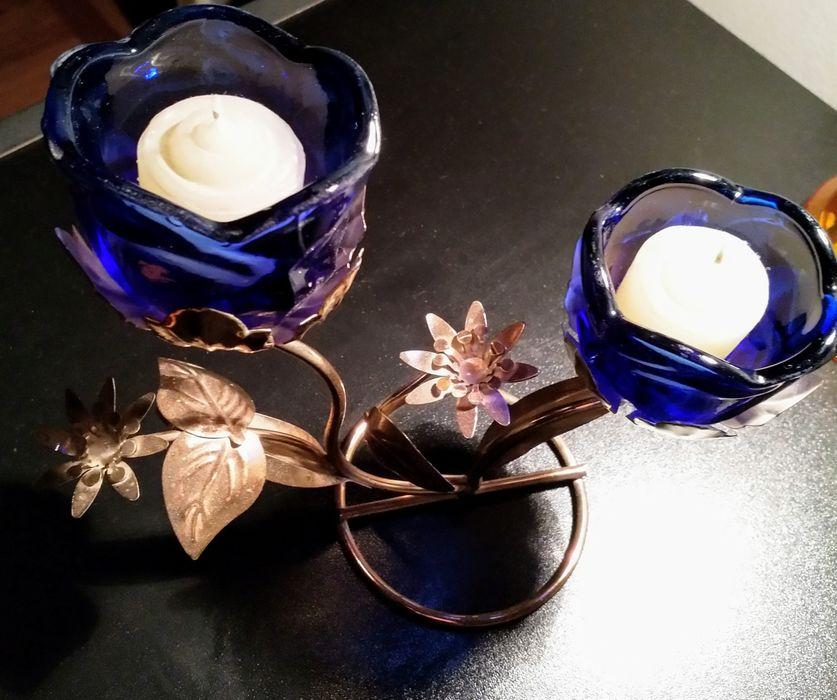 Sfesnic / Suport lumanari cu 2 brate model floral sticla si metal Bucuresti - imagine 1