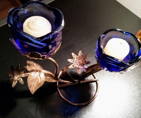 Sfesnic / Suport lumanari cu 2 brate model floral sticla si metal