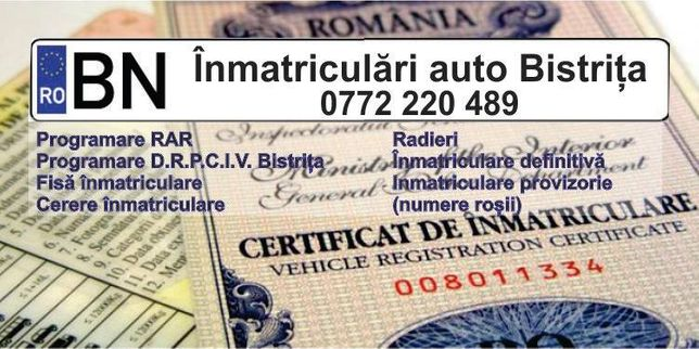 Inmatriculari auto Bistrita. Servicii complete de inmatriculare auto