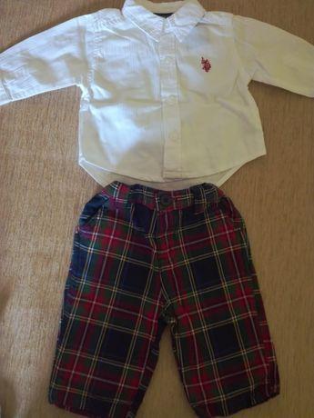 Pantaloni si camasa US Polo 3-6 luni