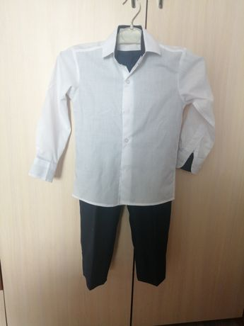 Рубашка белая + брюки темно-синии