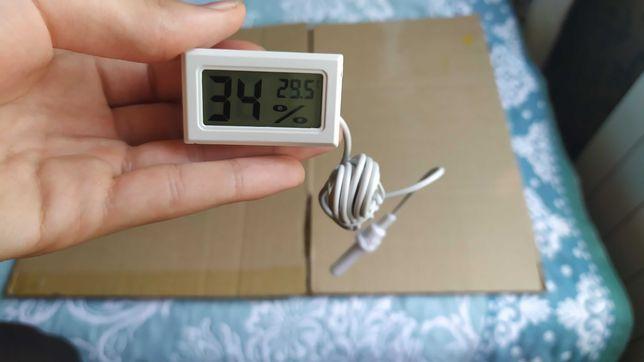 Электронный термометр-гигрометр с выносным датчиком белый