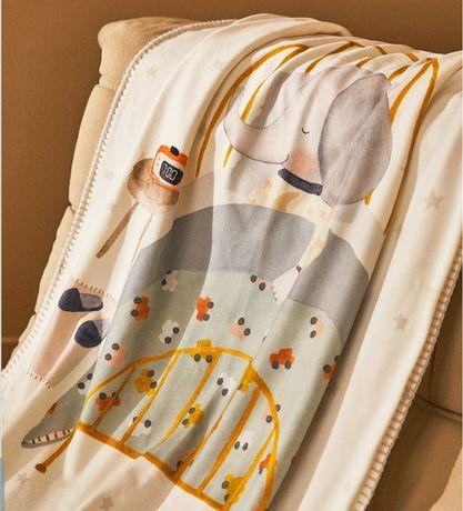 Pătură din polar, Zara bebe,cu elefant