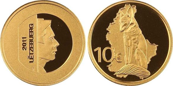 "Златна монета Люксембург ""Лисицата"" 2011 1/10 oz"