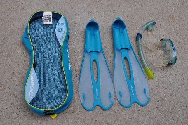 Kit scufundare Tribord Caraibes 500,ochelari,tub,labe, marimea 35-36