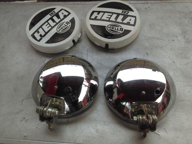 vintage proiectoare Hella 192 rallye anii 60-70 nichelate cu capace