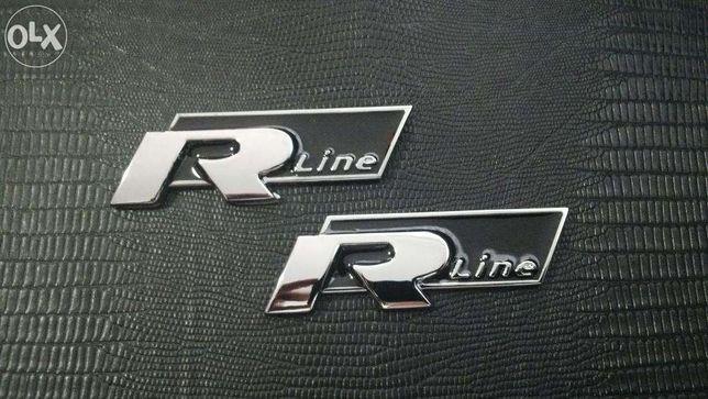 Emblema VW R-line passat/golf/jetta/tiguan metal crom/negru