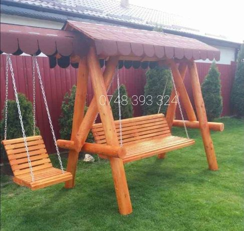 Balansoar  lemn  masiv  leagan  rustic