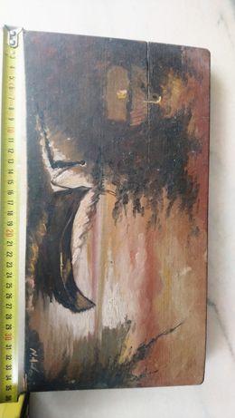 Pictura pe lemn 35cm x 19cm, 50ani vechime