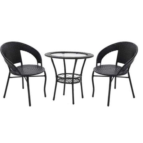 Set 2 scaune si masa din ratan interior/exterior terasa/gradina modern