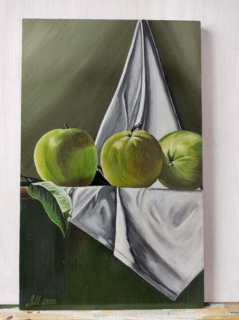 """""""Ябълки"""" - картина рисувана с акрилни бои на МДФ плоскост"""