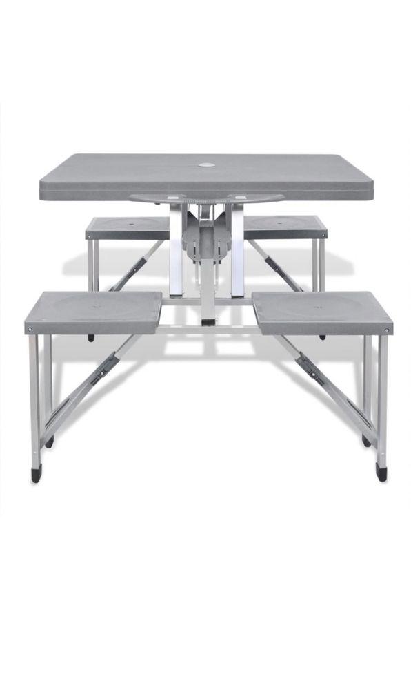 Masa pliabila aluminiu cu 4 scaune incorporate