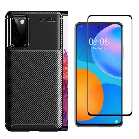 Samsung A41 A42 A20S A21S S20FE  Husa Carbon Neagra + Folie Sticla 11D