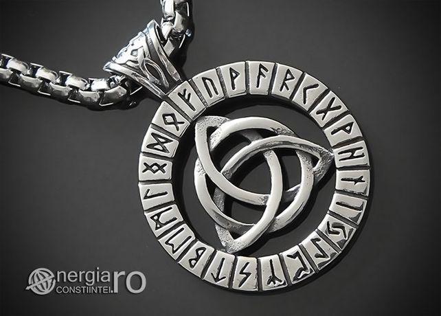 Pandantiv Triquetra cu Rune simbol al Trinității INOX - cod PND047