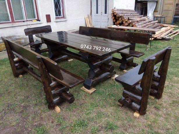 Masa cu bancute scaune terasă din lemn