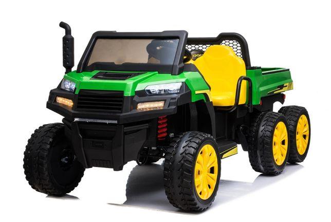 """Masinuta electrica """"Tractor tip ferma"""" 4x4 cu remorca ( A730) Verde"""